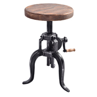 Extraordinary vintage counter height wooden round bar stool