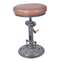 Industrial Leather/PU round seat adjustable swivel bar stools in exterior house design