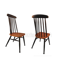 Metal industrial peacock pinewood seat and high backrest kitchen and restaurant dining chairs