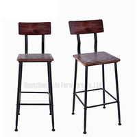 Industrial metal frame natural wooden seat high chair for bar shop